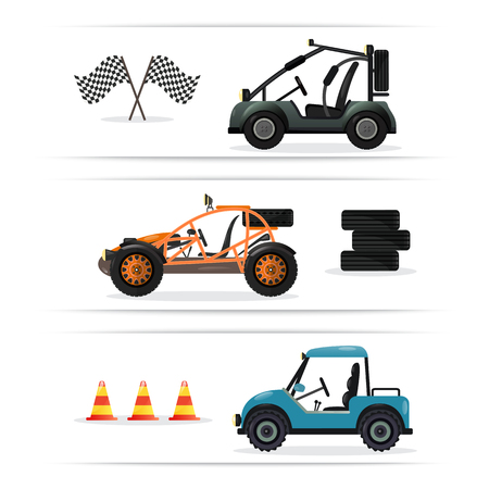 dunes: Off road buggy car set isolated on white background vector illustration. Terrain vehicle, motorbike, dune buggy, golf car element. Outdoor car racing, extreme buggy sport, off road trophy competition