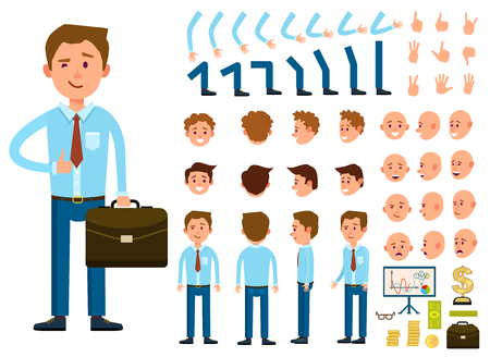 Businessman character creation set isolated vector illustration. Male person constructor with various gesture, emotion on face, hand, leg, pose, hairstyle. Front, side, back view animated businessman Vettoriali
