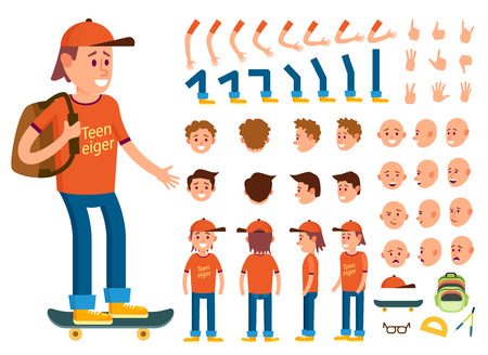 Teenager character creation set isolated vector illustration. Boy constructor with various gesture, emotion on face, hand, leg, pose, hairstyle. Front, side, back view animated teenager on skateboard Çizim