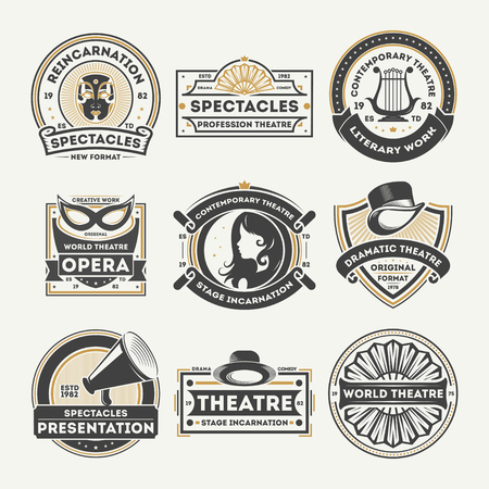 Dramatic theatre isolated label set vector illustration. Spectacle reincarnation and dramatic presentation symbol, literary work icon, professional opera stage logo. World theatre badge collection. Illustration