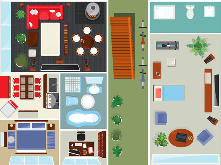 Top view apartment interior set isolated vector illustration. Living room, bedroom, kitchen and bathroom furniture design elements. Bed, desk, sofa, chair, bath, toilet, sink, stove house collection