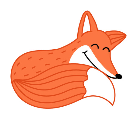 Cute little fox hand drawn cartoon character isolated on white background vector illustration. Funny comic animal mascot, happy and smiling red fox, wildlife and zoo animal. Friendly fox sleeping.