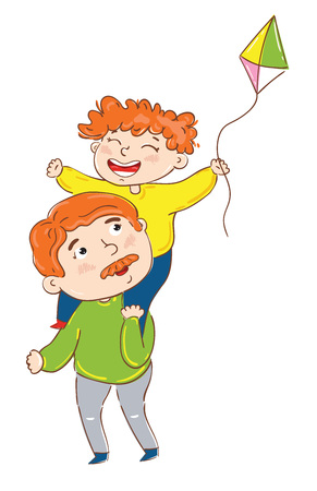 Happy family cartoon characters isolated on white background vector illustration. Boy sitting on father shoulders, smiling and playing, having fun happy family. Hand drawn playing father and son.
