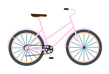 Bicycle vector isolated vector illustration in flat. Sport and everyday eco friendly transport. Bicycle icon on white background Illustration