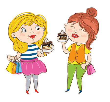 having fun: Happy girl cartoon characters isolated on white background vector illustration. Two girlfriends with package and cake having fun, smiling and chatting, happy people. Hand drawn funny girl shopping.