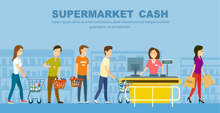 Supermarket store counter desk banner vector illustration. Retail woman cashier in uniform with cash register and buyers in shop interior. Shopping people in supermarket, daily grocery purchase.