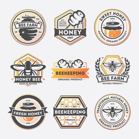 甘い蜜ヴィンテージ分離ラベルは、ベクター グラフィックを設定します。蜂ファームのシンボル、伝統的な養蜂のアイコン、天然有機蜂蜜製品のロ