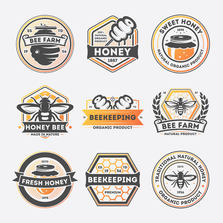 Sweet honey vintage isolated label set vector illustration. Bee farm symbol, traditional beekeeping icon, natural organic honey product logo. Premium quality food sign, fresh honey badge collection. 版權商用圖片 - 72807247