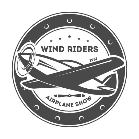 Airplane vintage isolated label vector illustration. Wind riders show and best pilot symbols. Airplane academy and flying club sign. Air travel and plane tours logo. Airplane shool logo template Illustration