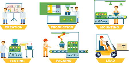 Industrial manufacture set isolated on white background vector illustration. Creation, production, mounting, testing, packing, load concept with people. Industrial manufacture collection in flat style  イラスト・ベクター素材