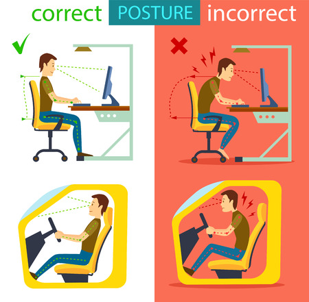 Correct and incorrect sitting posture isolated vector illustration. Body alignment in sitting working with computer and in car. Medical infographics with spine person sit correct and wrong position.