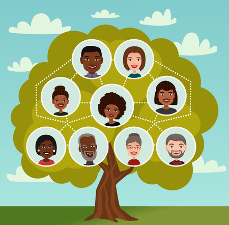 Árbol genealógico grande con la gente avatar iconos vector ilustración. Árbol genealógico con abuelos, padres y sus hijos personajes de dibujos animados. Diagrama de dinastía de miembros, concepto de generación familiar