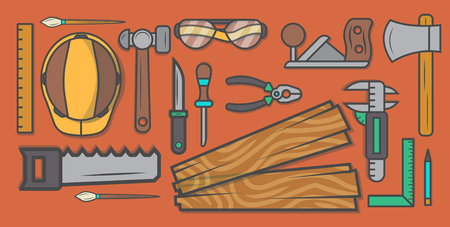 Woodworker workplace vector illustration. Carpentry professional service, forest product, wood industry instrument, woodworking tool set. Plane, hammer, ax, saw, ruler, pliers, chisel, safety helmet. Illustration