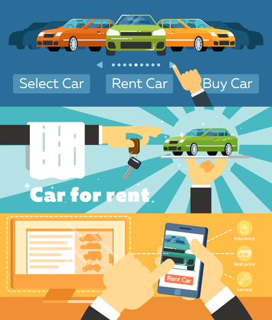 car: Online automobile rental business banner set vector illustration. Car for rent concept, pre order and conclusion of contract for renting car service. Transportation advertisement with city car Illustration