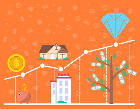 analytic: Financial investment diagram in flat design vector illustration. Financial growth, analytics, statistics and strategic management. Investing in commercial real estate, jewelry and cash, deposit money.