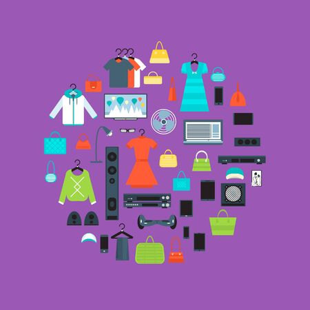 Shopping mall banner in flat design vector illustration. Store concept with clothes, electronic technics and gadgets. Shopping advertising, mall retail design, sale promotion trade business. Stock Photo