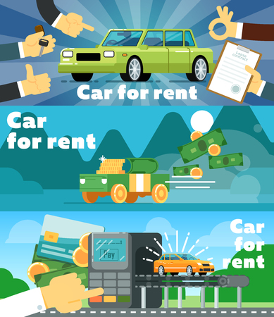 Online automobile rental business banner set vector illustration. Car for rent concept, pre order and online payment for renting car service. Transportation advertisement with city car in flat design