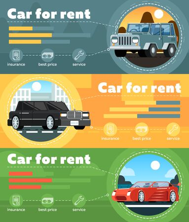 car: Car for rent banner set vector illustration. Automobile rental business infographic, leasing or renting car service. Transportation concepts with limousine, SUV and sport car in flat design.