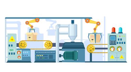 Fabrikförderer auf dem Verpacken in der flachen Designvektorillustration. Automatische Produktionslinie mit Kartons. Industrielle Maschine, Produktionslinie, Roboter-Förderbandsystem, Technikkonzept