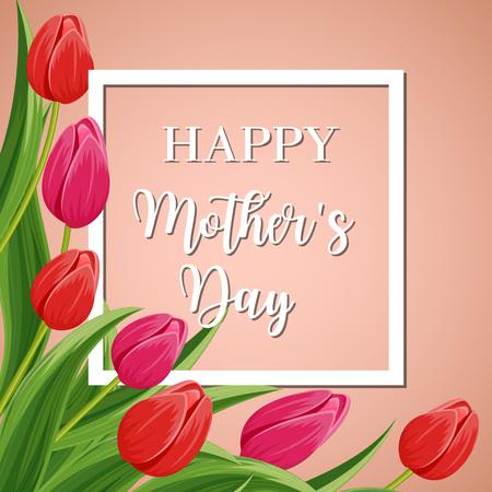 Bonne carte de voeux de la fête des mères avec une fleur rose et rouge floraison fleur de tulipes illustration vectorielle festive. Design décoré floral décoré pour les vacances féminines, célébration amoureuse, félicitation féminine félicitation