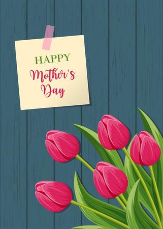 Carte de voeux de fête des mères heureux avec fleur de tulipe fleur rose sur illustration vectorielle de fond en bois. Floral décoré printemps design pour les vacances de la femme, la célébration de l'amour, fête félicitation