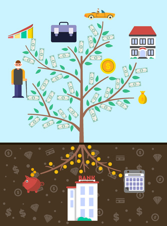 Artistic old age infographics with money tree vector illustration. Presentation of retirement money, financial growing, strategic management of pension finance, saving money, annuity insurance Иллюстрация
