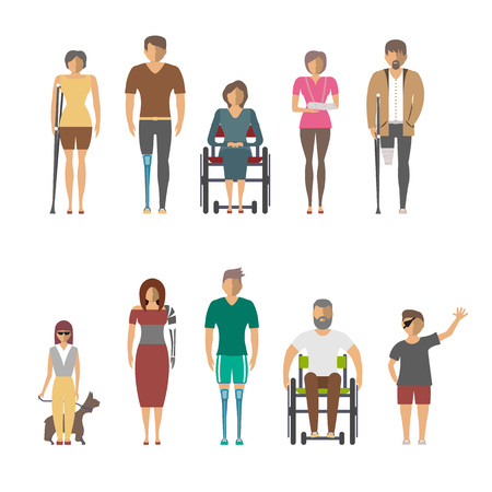 Disabled people isolated set in flat design vector illustration. Invalid person, blind woman, broken arm, people on wheelchair, prosthetic arms and legs. Healthcare assistance and accessibility
