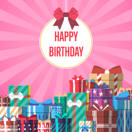 Happy birthday greeting card template with colorful gift box vector illustration. Pile of wrapped gift box, lots of holiday presents in flat design. Beautiful present box with overwhelming bow.