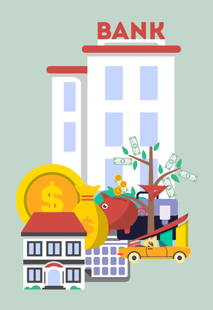 renting: Financial investment banner in flat design vector illustration. Investing in securities, commercial real estate, cash, bank deposits. Financial strategic management and planning service concept