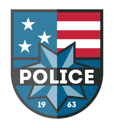 USA Police department badge isolated on white background vector illustration. Federal security emblem, state detective label, cop sign in flat design. Illustration