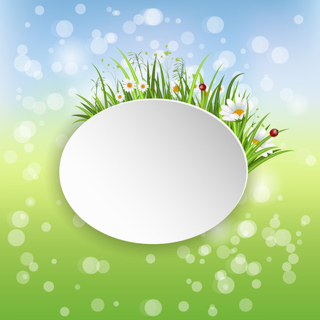 Spring banner with blooming chamomile flower and green grass on blurred background vector illustration. Floral decorated spring design for holiday, romantic celebration card template with copy space Illustration