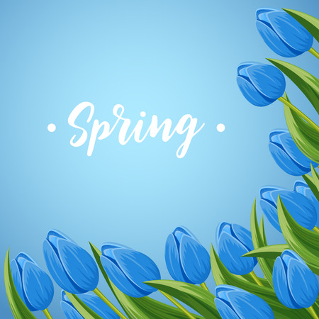 beautyful: Spring banner with blue blooming tulip branche vector illustration. Floral decorated spring flower design for holiday, seasonal celebration, nature feast congratulation greeting card
