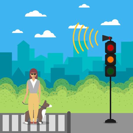 都市生活の障害者はベクトル イラストです。若者には、サービス犬交差通り道路の信号で盲目の少女が無効になります。フラットなデザインでヘル