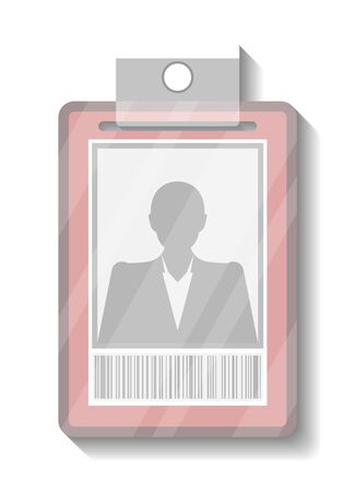 Name tag holder or badge template vector illustration isolated on white background. Blank plastic id card, identification pass