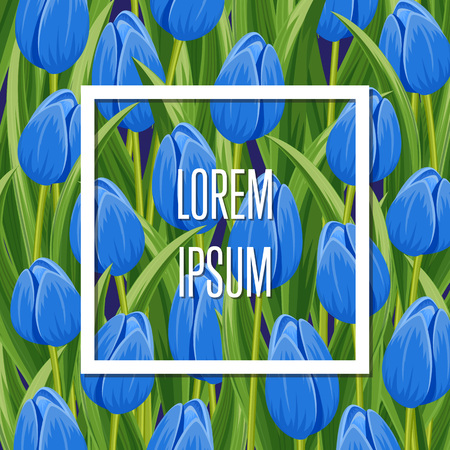 beautyful: Spring banner with frame on blue blooming tulip background vector illustration. Floral decorated spring flower design for holiday, seasonal celebration, nature feast congratulation greeting card Illustration