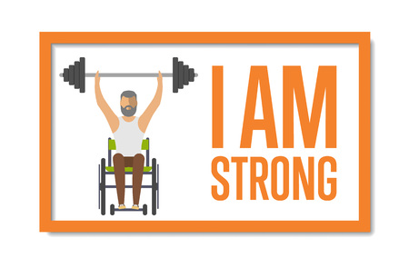 I am strong concept with young disabled man on wheelchair vector illustration. Wheelchair athlete raises barbell. Disabled active lifestyle concept, sport competition for persons with disabilities Çizim