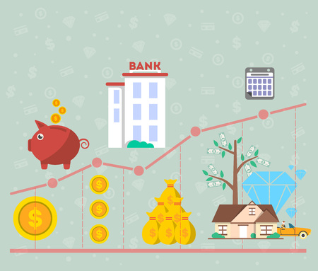 investor: Investment in old age infographics vector illustration. Presentation of retirement money plan, financial growing diagram, finance and banking, strategic management of pension finance, life to retire