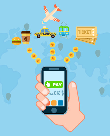 Pay everywhere service concept vector illustration. Global NFC payment technology, online banking and shopping via smartphone, ecommerce. Mobile wallet for online transaction banner with world map Illustration