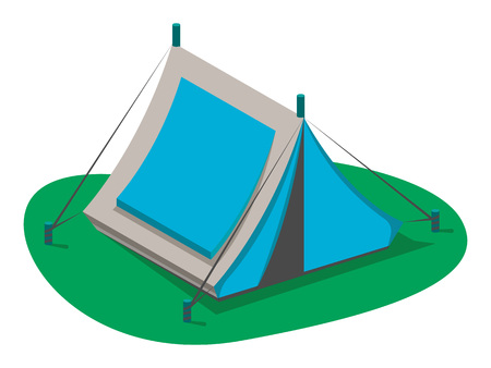Blue tourist tent icon isolated on white background vector illustration. Camping equipment in flat design. Hiking traveling, nature vacation concept.