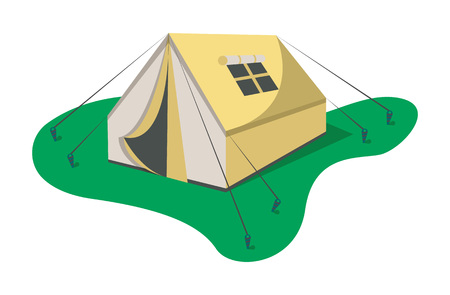 touristic: Adventure camp tent icon isolated on white background vector illustration. Campsite equipment in flat design. Hiking traveling, nature vacation concept.