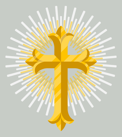 Golden catholic cross icon isolated on grey background vector illustration. Christianity religion symbol in flat design. Illustration