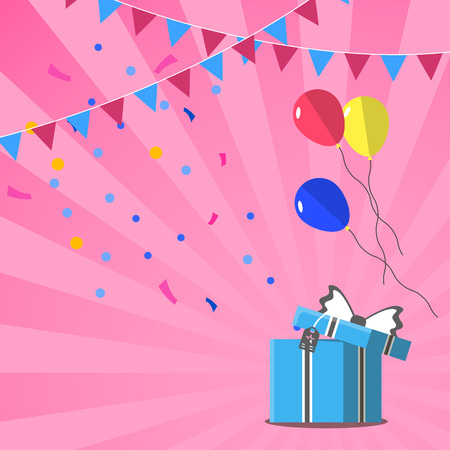 Happy birthday greeting card design vector illustration. Birthday banner with present box in flat style. Party invitation or event congratulation with colorful gift box and holiday decoration