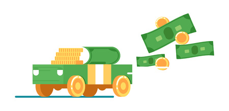 lease: Rent or sale car service icon with money Illustration