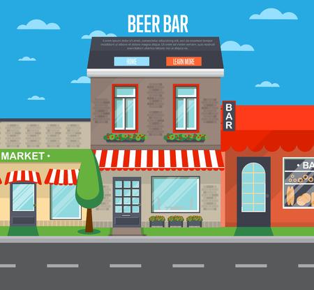 irish landscape: Beer bar banner in flat design Illustration