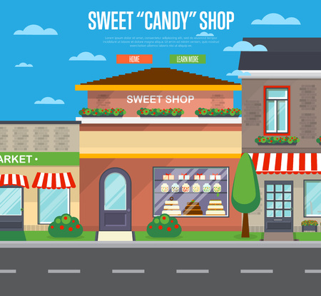 Sweet candy shop banner in flat design