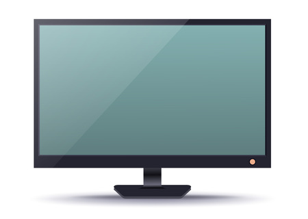 media gadget: LED TV device with blank screen isolated on white background vector illustration. Smart gadget icon, modern digital technology concept in flat design Illustration