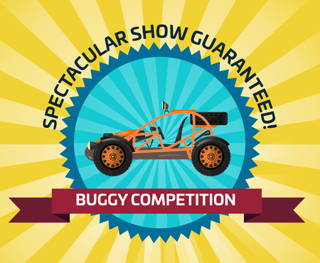 Off road buggy car competition banner Illustration