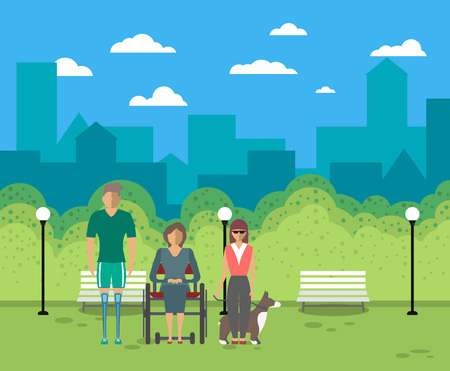 Disabled people in city life vector illustration. Young woman on wheelchair, disabled man with prosthetic legs, blind girl with service dog in park. Healthcare assistance and accessibility concept Çizim