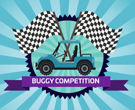 Buggy rally competition banner with checkered flag vector illustration. Outdoor auto ride, extreme terrain vehicle sport, dune buggy race, spectacular 4x4 motor show, off road trophy championship. Illustration