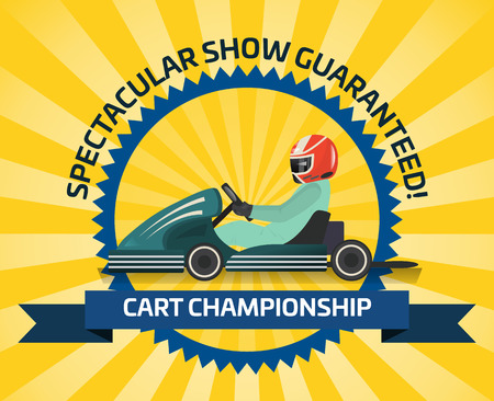 Auto racing spectacular show poster vector illustration. Cart championship, extreme karting sport, automobile speed motor show, road trophy race competition. Driver racing on go kart in helmet.